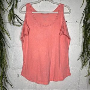 Gap Linen Blend Cold Shoulder Shirt Neon Pink S